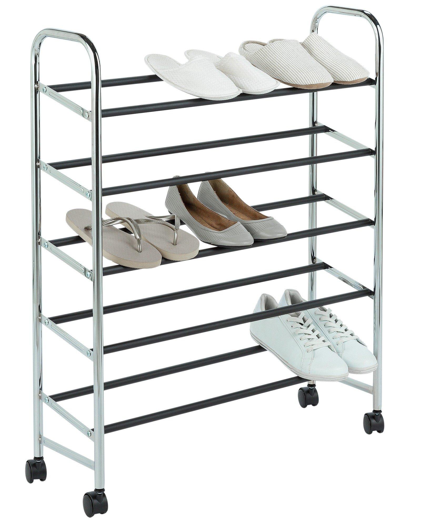 home 5 shelf rolling shoe storage rack chrome