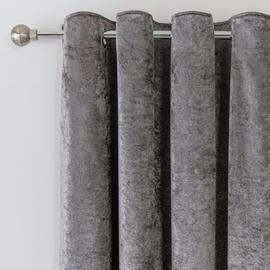 Argos Home Crushed Velvet Lined Eyelet Curtains