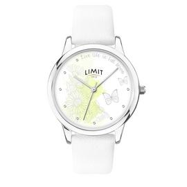 Limit Ladies White Illustration Faux Leather Strap Watch