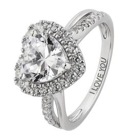 Revere Sterling Silver Cubic Zirconia Twist Shoulder Ring