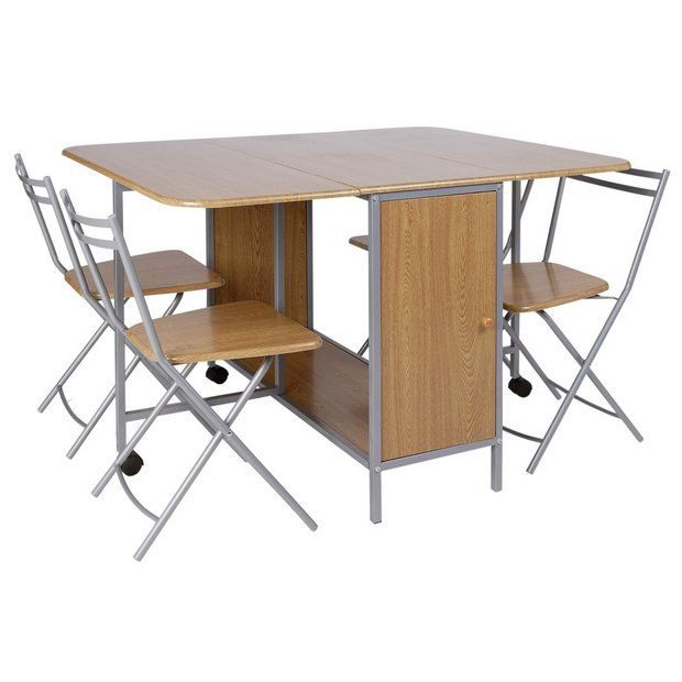 buy home butterfly ext rec dining table 4 folding chairs. Black Bedroom Furniture Sets. Home Design Ideas