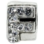 more details on Miss Glitter S.Silver Kids Stone Set Alphabet Charm - F.