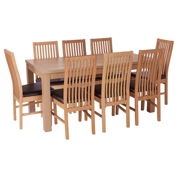 Buy Dining Table And Chairs Online: Buy HOME Hemsley Ext Dining Table And 8 Paris Chairs -Oak