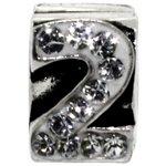 more details on Miss Glitter Sterling Silver Kids Stone Set Number Charm - 2