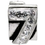 more details on Miss Glitter S.Silver Kids Stone Set Number Charm - 7.