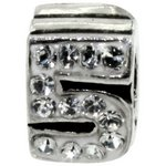 more details on Miss Glitter Sterling Silver Kids Stone Set Number Charm - 5