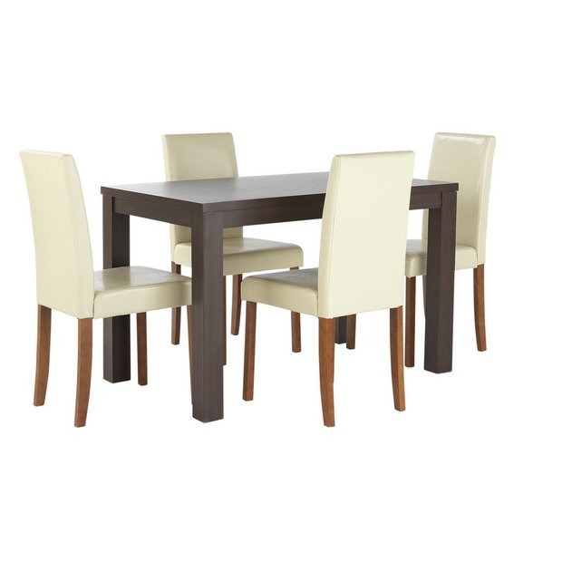 veneer dining table 4 chairs cream at your online