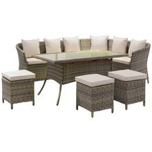 Rattan Effect 8 Seater Corner Sofa, Dining Table and Stools