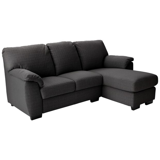 Buy collection milano fabric right chaise longue sofa for Argos chaise longue sofa bed