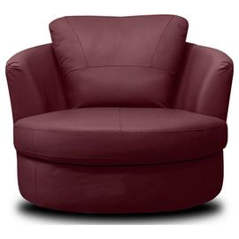 Argos Home Milano Leather Swivel Chair - Burgundy