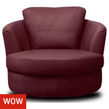 Collection Milano Leather Swivel Chair - Burgundy