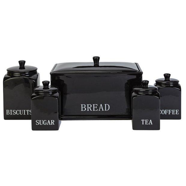 Buy home bistro 5 piece ceramic storage set black at for Kitchen set argos