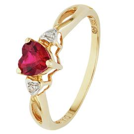 Revere 9ct Gold Ruby and Diamond Accent Heart Ring
