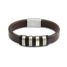 Revere Stainless Steel and Brown Leather Bracelet
