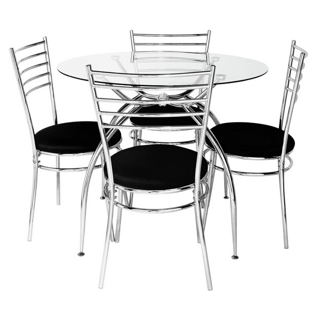 Buy hygena lusi glass dining table and 4 chairs black at for Black dining sets with 4 chairs