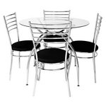 more details on Hygena Lusi Glass Dining Table & 4 Chairs - Black