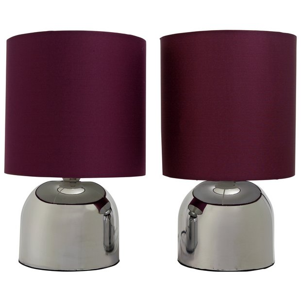 Buy colourmatch pair of touch table lamps purple fizz at