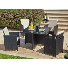 Argos Home Cube 4 Seater Rattan Effect Patio Set - Black