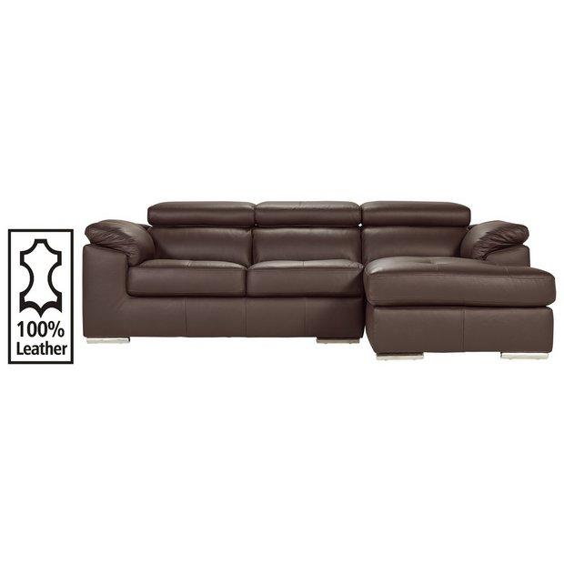 Buy Hygena Valencia Leather Right Hand Corner Sofa