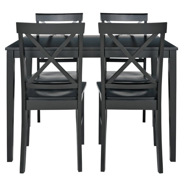 buy home jessie dining table and 4 solid wood chairs black at argos