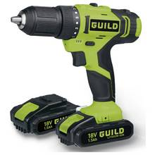 Guild 1.5AH Li-ion Cordless Drill Driver and 2 18V Batteries