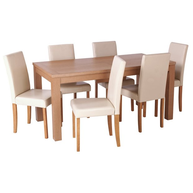 Buy home hemsley extendable dining table and 6 chairs cream at your online shop Buy home furniture online uk