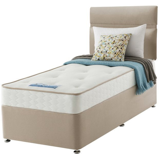 Buy sealy revital backcare single divan bed at for Single divan with drawers and headboard