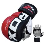 more details on RDX Synthetic Leather MMA Grap Gloves Medium/Large - Red