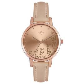 Spirit Ladies' Butterfly Gold Dial Nude Strap Watch