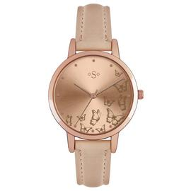 Spirit Ladies Pale Pink Faux Leather Strap Watch