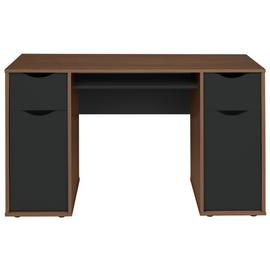 Argos Home Berkeley Pedestal Desk - Black & Walnut Effect