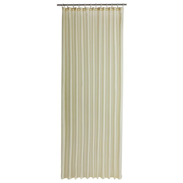 Buy colourmatch shower curtain cotton cream at for Bathroom accessories argos