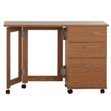 HOME Dino 3 Drawer Space Saving Office Desk - Oak Effect