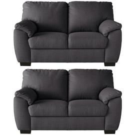 Argos Home Milano Pair of Fabric 2 Seater Sofa - Charcoal