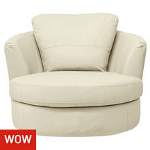 Collection Milano Leather Swivel Chair - Ivory