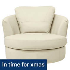 Argos Home Milano Leather Swivel Chair - Ivory