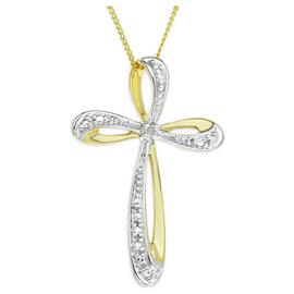 9ct Gold Diamond Set Crossover Cross Pendant Necklace.