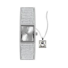 Spirit Ladies Silver Crystal Bangle Watch & Pendant Set