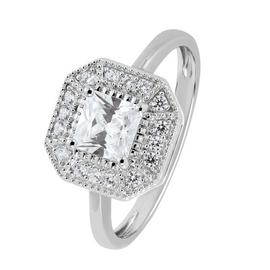 Revere Sterling Silver Vintage Cubic Zirconia Halo Ring