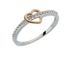 more details on 9ct White Gold 0.10ct tw Diamond Rose Gold Heart Ring.