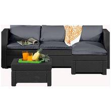 Keter Oxford Rattan Effect Outdoor Corner Sofa - Graphite
