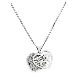 Moon & Back Silver & Crystal Heart Pendant Necklace