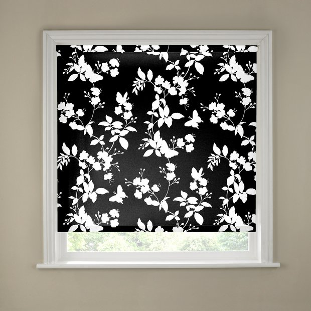 buy 4ft butterfly blossom black and white roller blind at. Black Bedroom Furniture Sets. Home Design Ideas