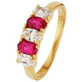 Revere 9ct Gold Plated Silver Created Ruby & White CZ Ring