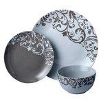 more details on HOME Damask 12 Piece Porcelain Dinner Set - Taupe.