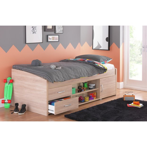 Buy home yanniek cabin bed with elliott mattress oak at for Furniture 123 cabin bed