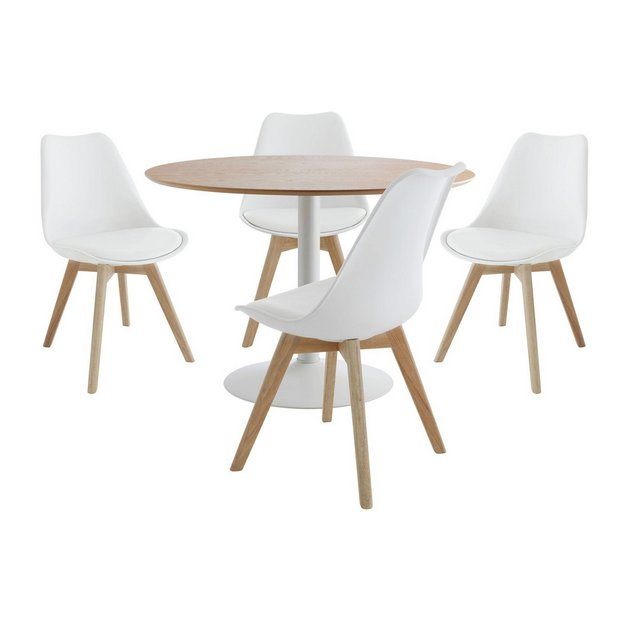 Buy Habitat Lance Oak Veneer Table 4 Jerry Chairs White Space