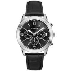 Bulova Men's Black Dial Chronograph Leather Strap Watch