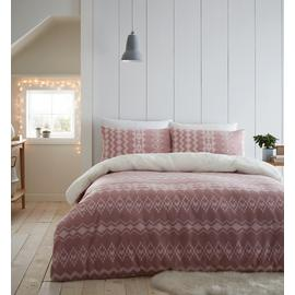 Catherine Lansfield Blush Alpine Fleece Bedding Set - King