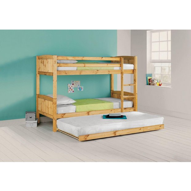 Buy Home Detachable Bunk Bed With Trundle Ashley Mattress Pine At Your Online